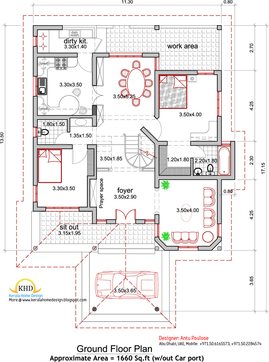 house plan and elevation 2165 sq ft