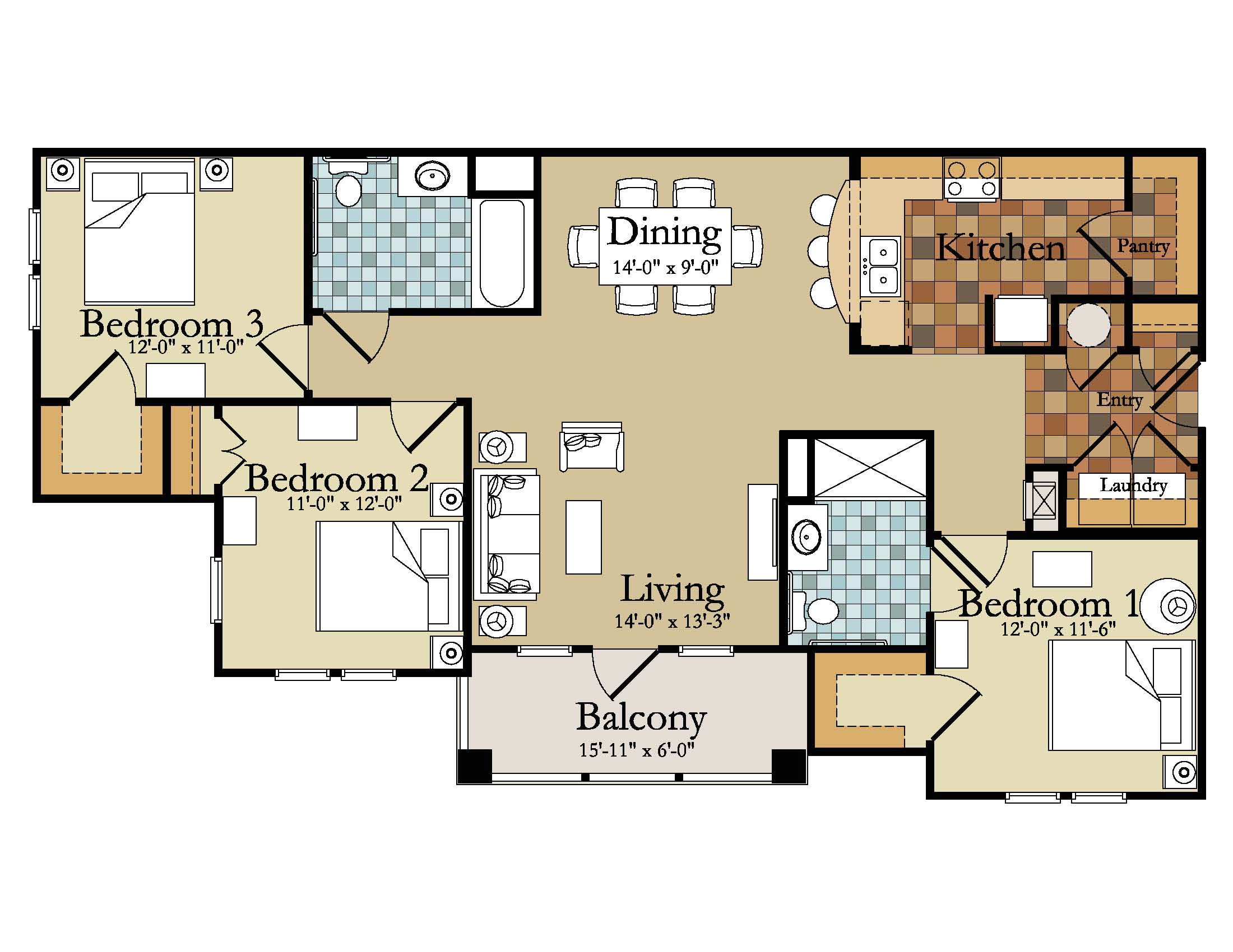 modern 3 bedroom house plans picture