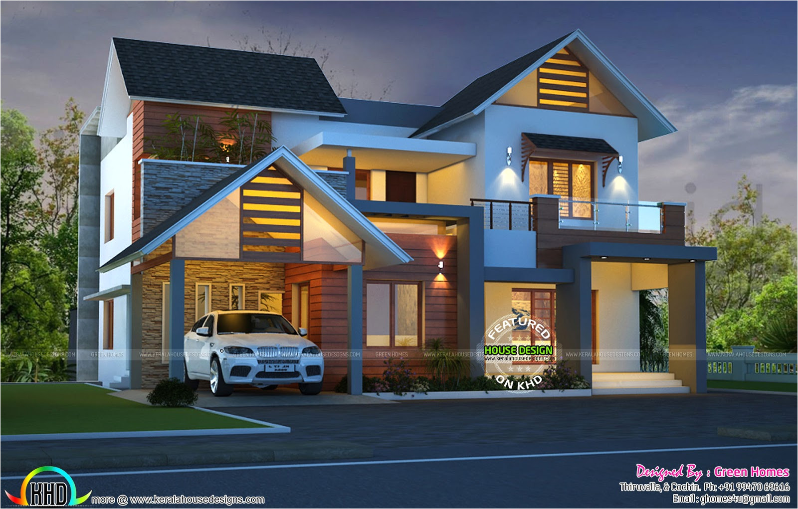 cute night view kerala home design