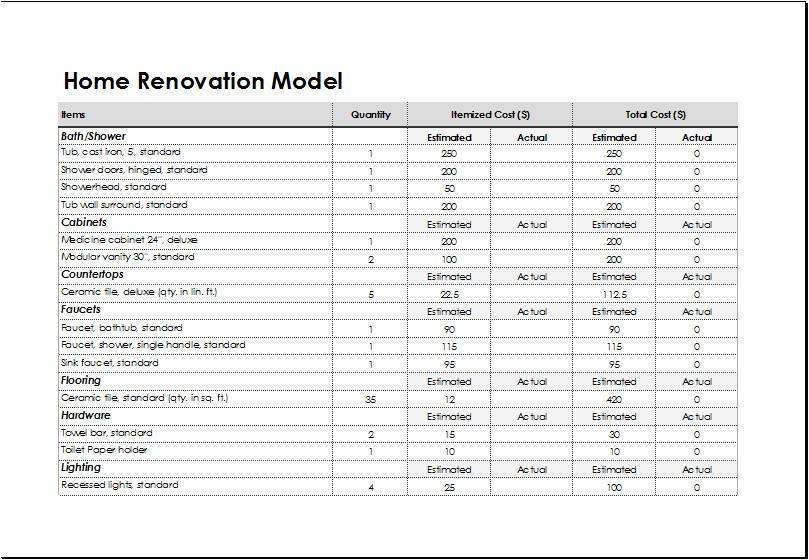 home renovation model sheet