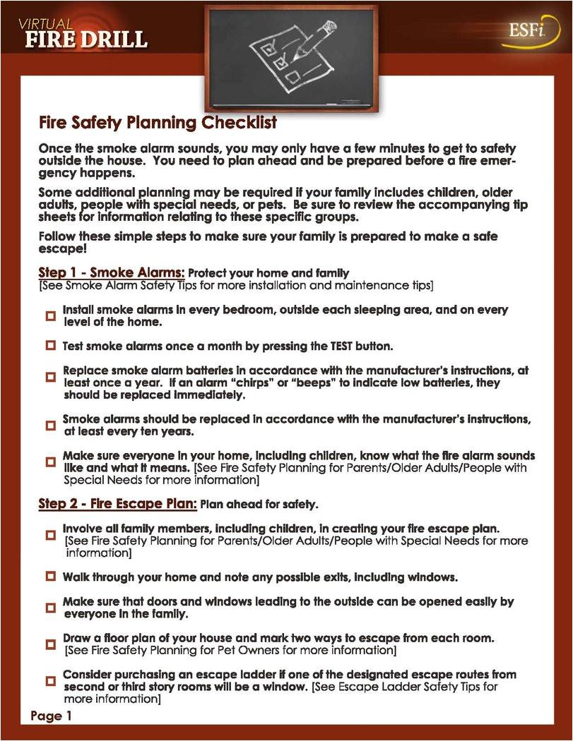 fire safety planning checklist 468