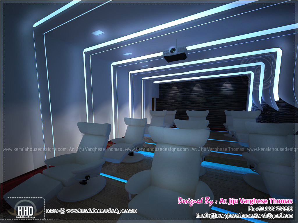 Home theater Plans Designs Home theater and Spillover Space Interiors Kerala Home