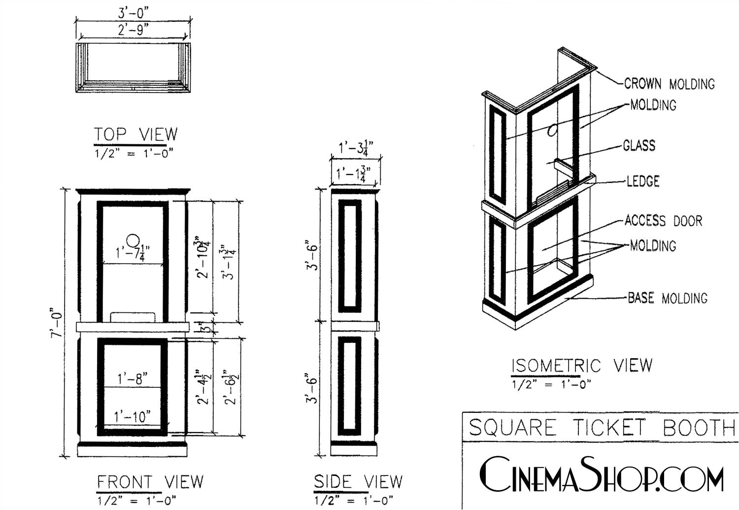 Home theater Ticket Booth Plans C Cinemashop Home theater Ticket Booths