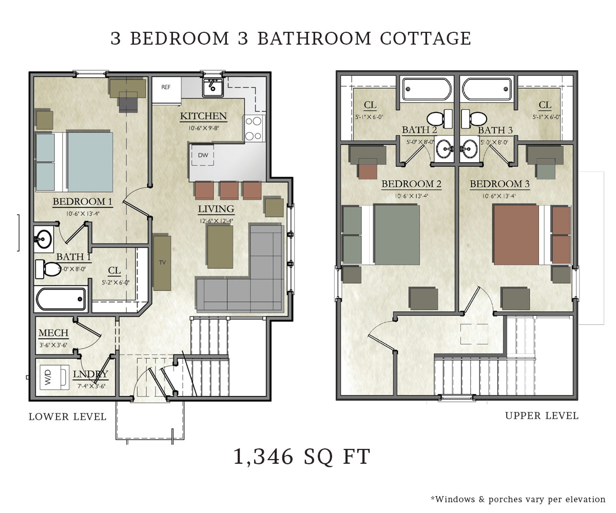 3 bedroom cottage house plans