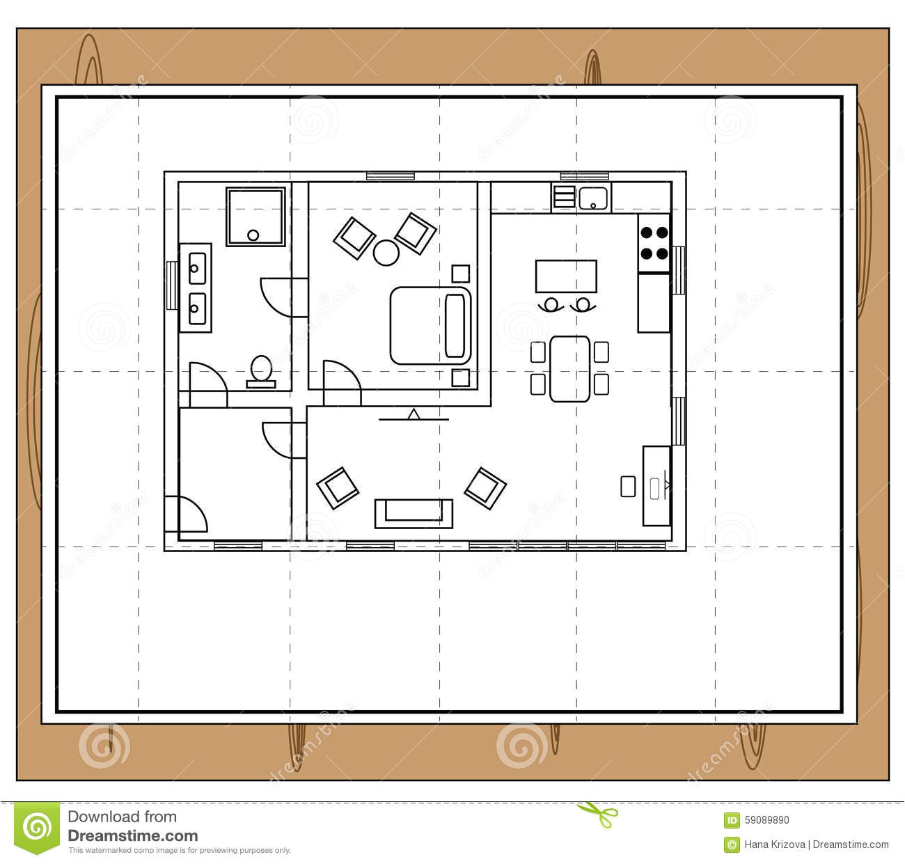 stock illustration house plan drawing individual rooms such as bathroom toilet bathroom bedroom kitchen living room image59089890