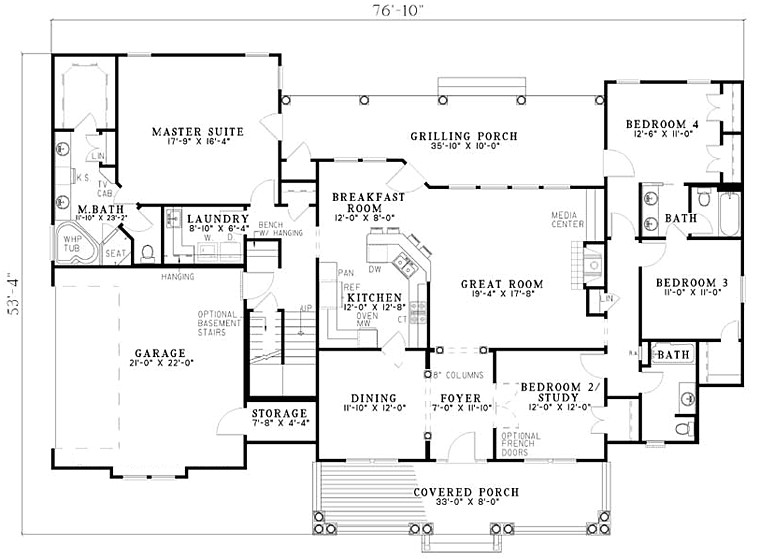 2500 sq ft one level 4 bedroom house plans first floor plan of country southern house plan 61377