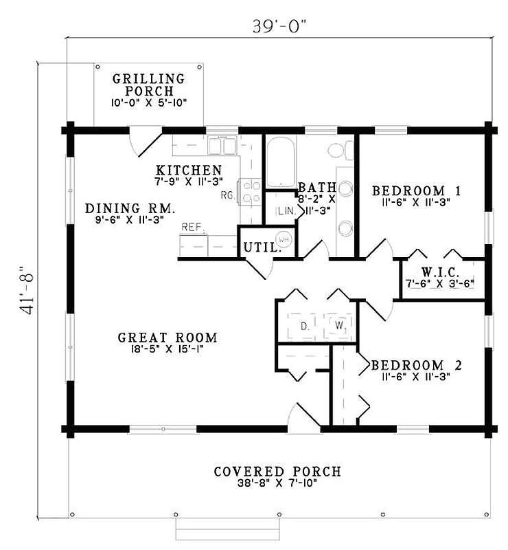 280 plan 110 00919 2 bedroom 1 bath