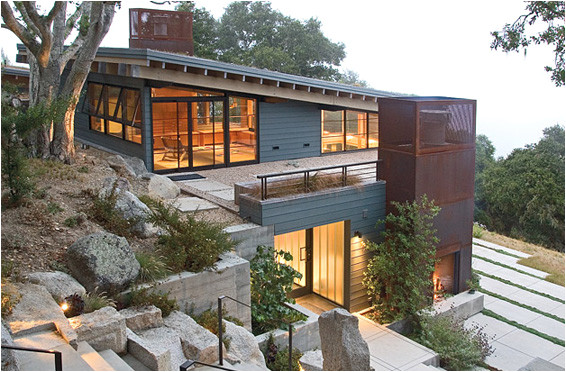 a home built on a slope