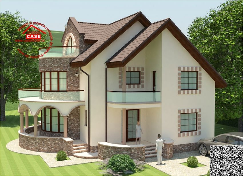 case cu balcon rotund un design expresiv