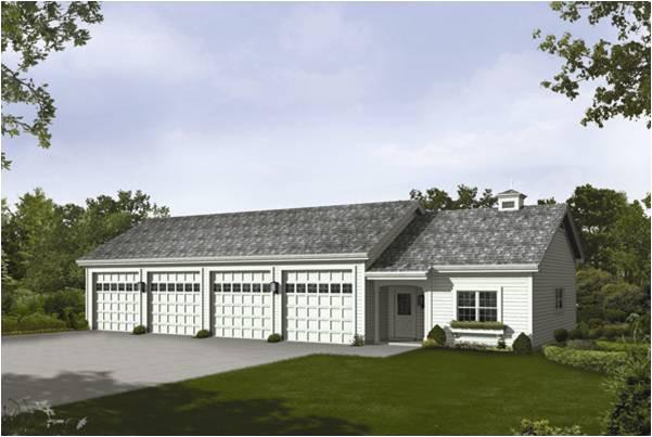 4 attached car garage home plan