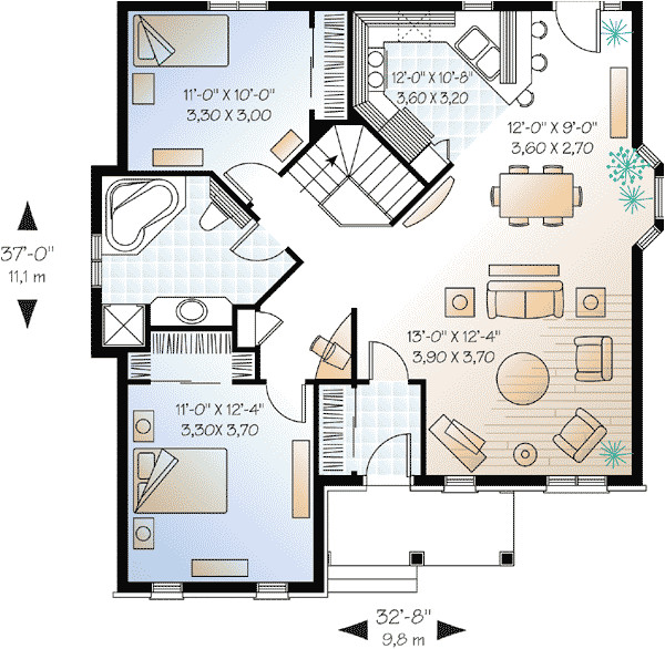 two bedroom house plans two bedrooms small front porch large living room