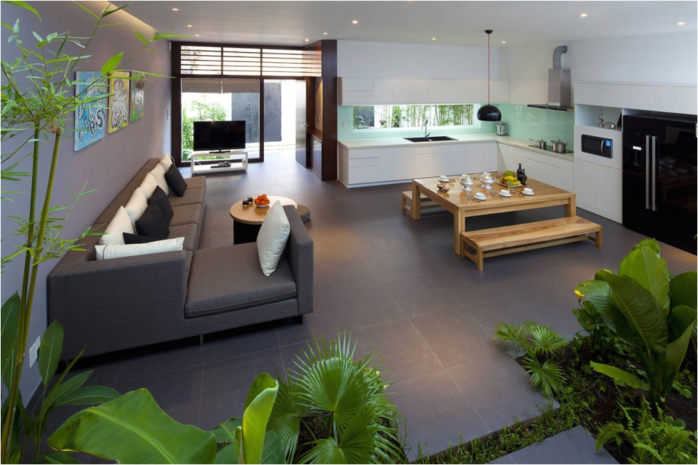 House Plans with Open Kitchen and Living Room A Fresh Home with Open Living area Internal Courtyard