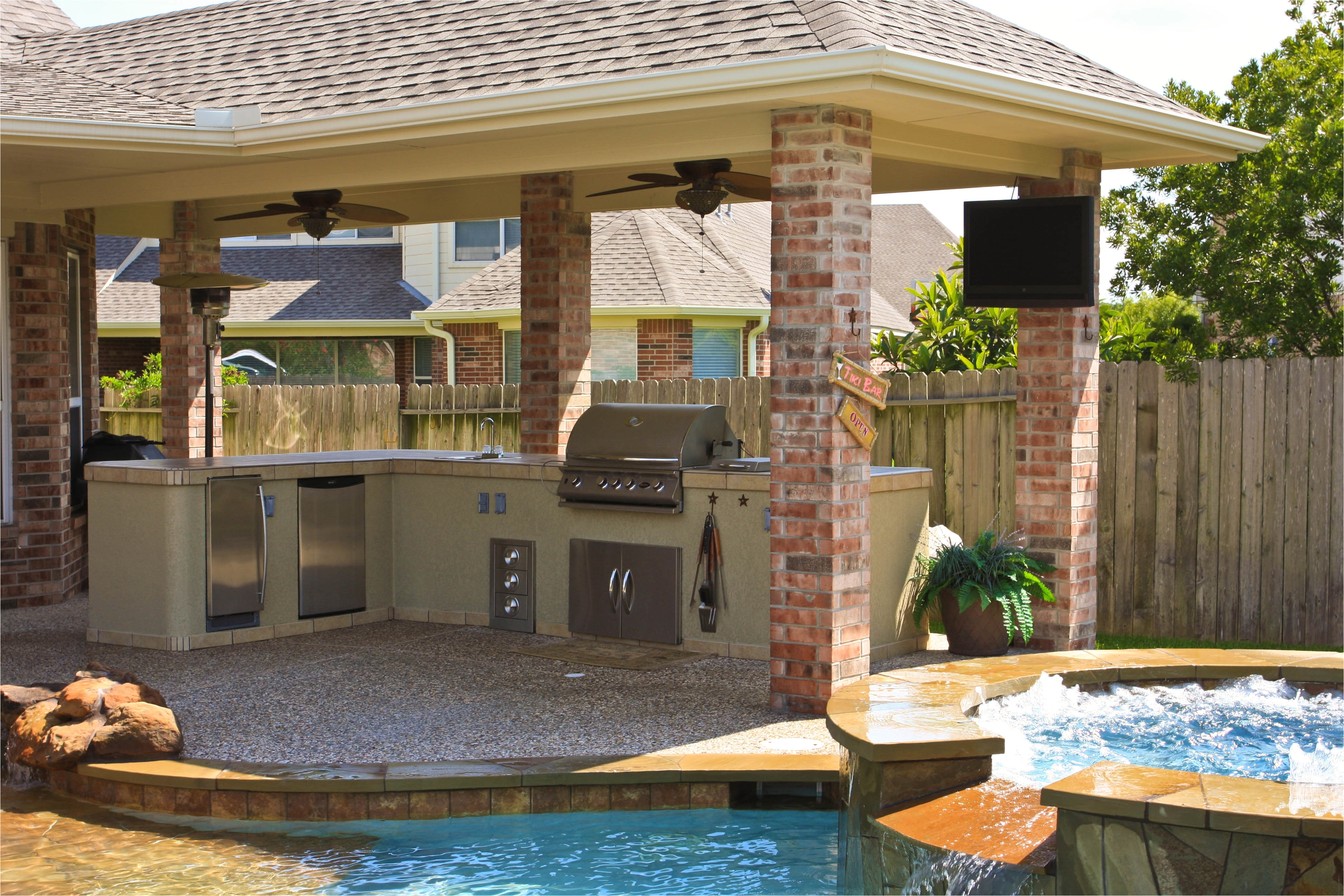 awesome home outdoor kitchen pool