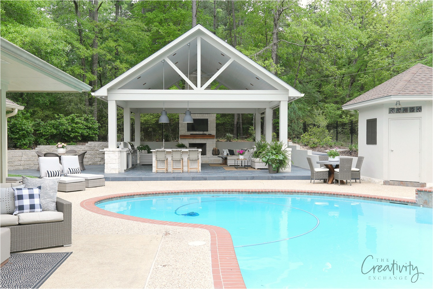 pool house and outdoor kitchen project reveal