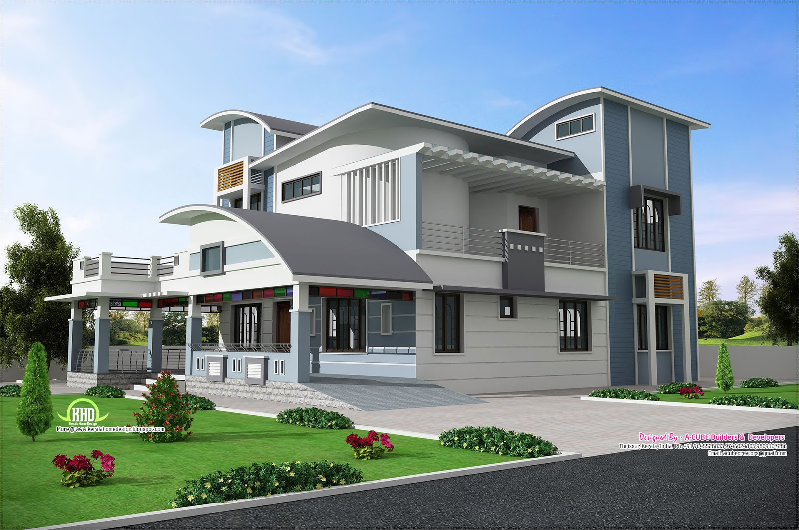 House Plans with Pictures Of Real Houses Modern Unique Style Villa Design Kerala Home Design and