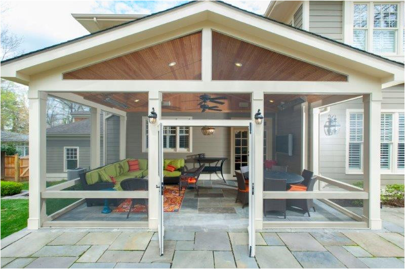 craftsman screened porch flagstone sitting wall