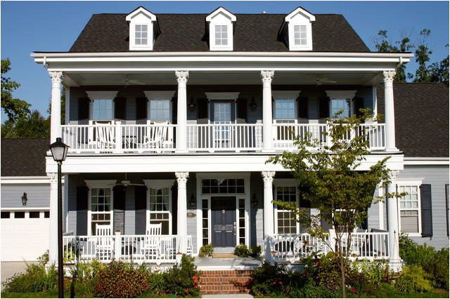 House Plans with Second Story Porch the Owens Model at Old Davidson Traditional Exterior