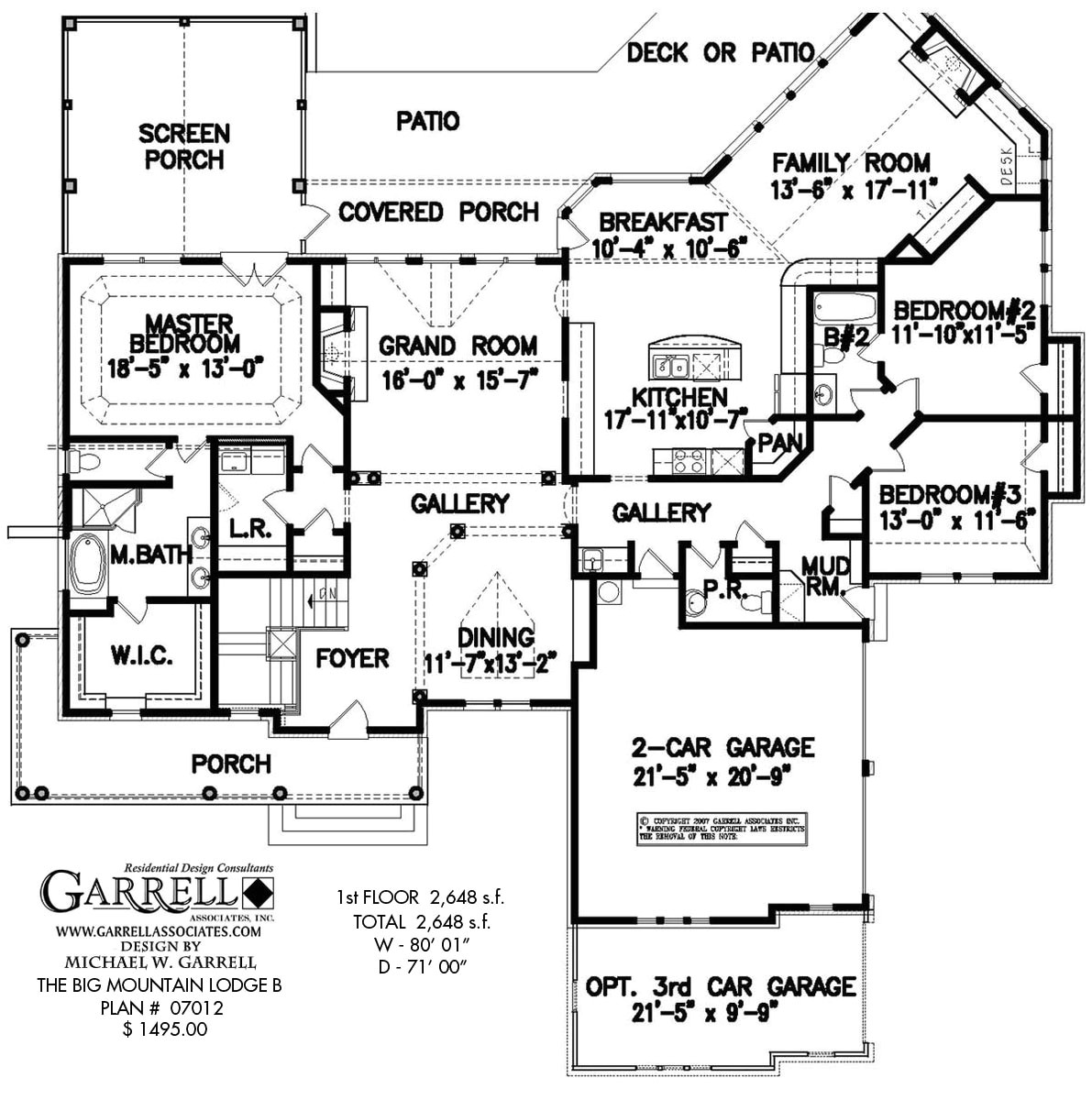 Huge Ranch House Plans Big Mountain Lodge B House Plan House Plans by Garrell