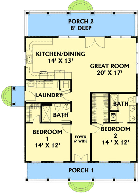 plan w2568dh wouldnt need 6 ft wide hallway and totally flip from front to back i like kitchen dining and living room in front of a house or all on one side