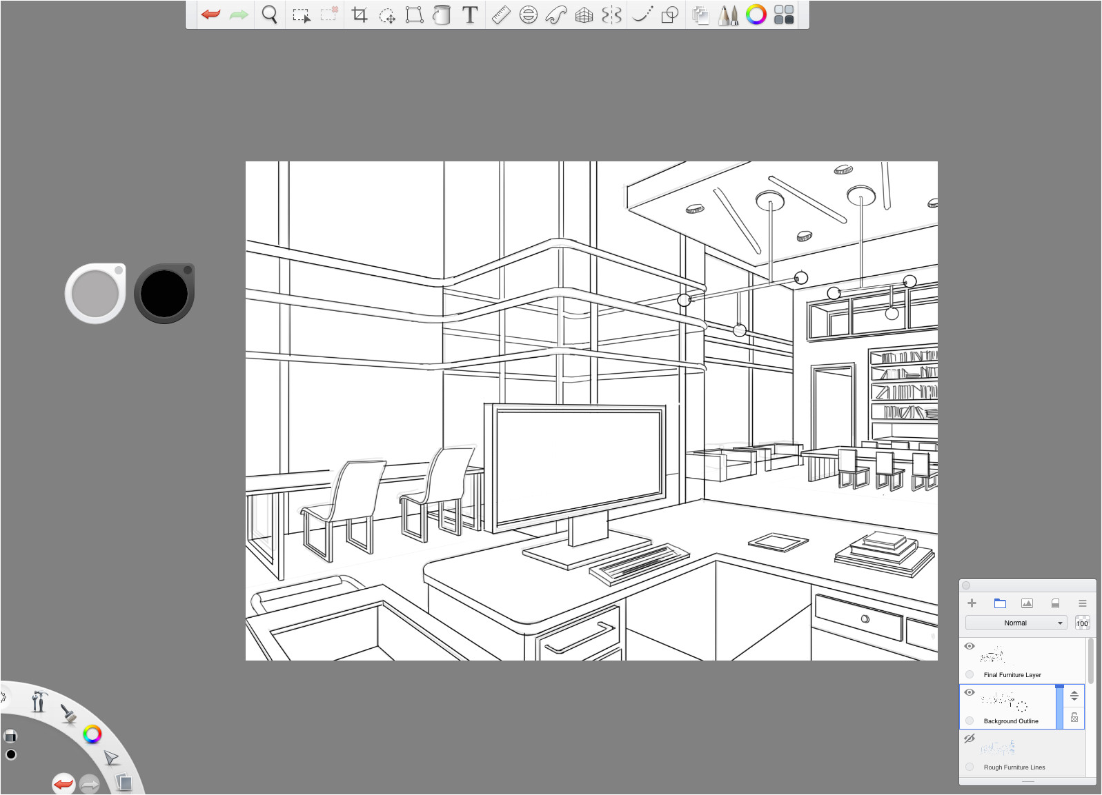 perspective guides using two point perspective for drawing interiors