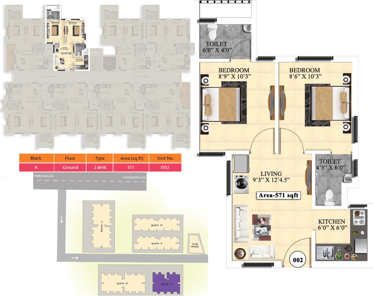 2bhk 2t 571 sqft apartment