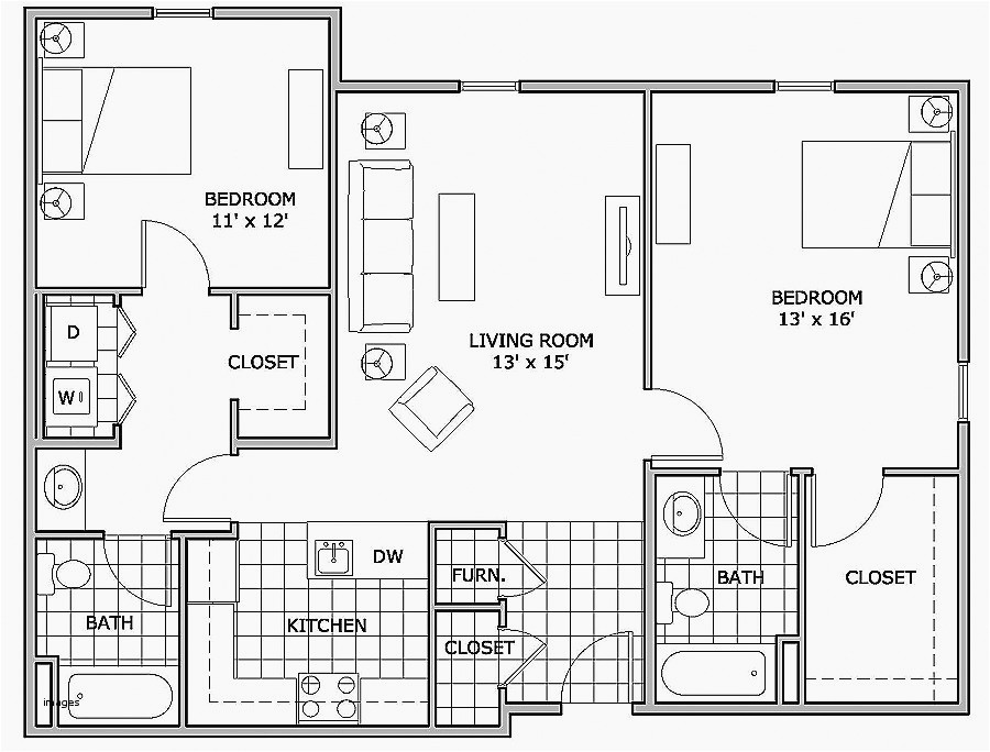 1000 sq ft house plans 2 bedroom