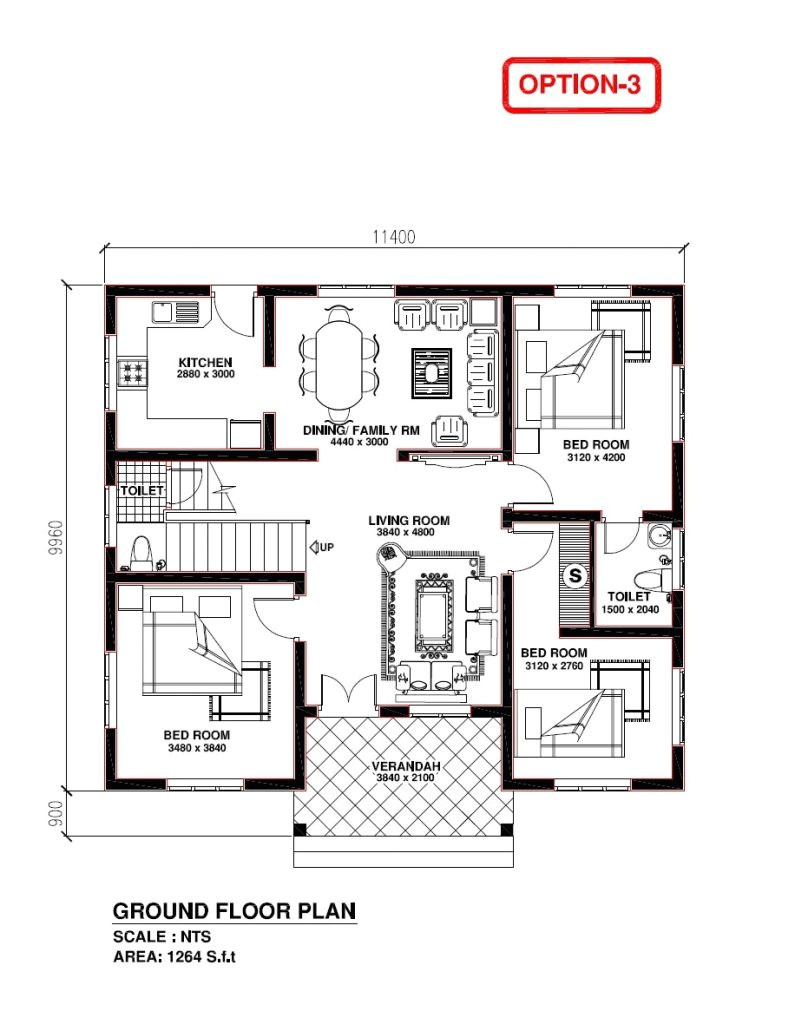 kerala model 3 bedroom house plans