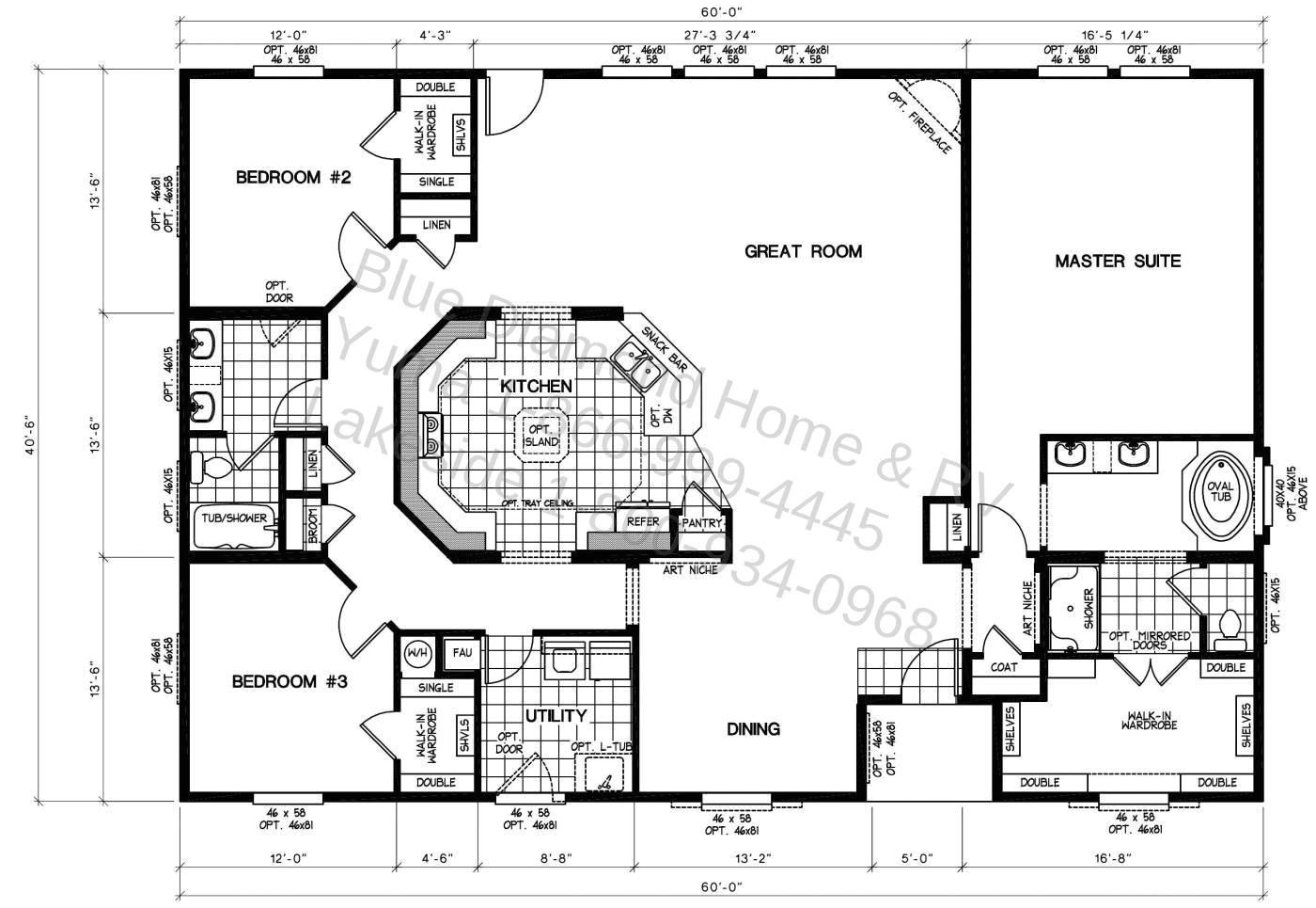 triple wide floor plans