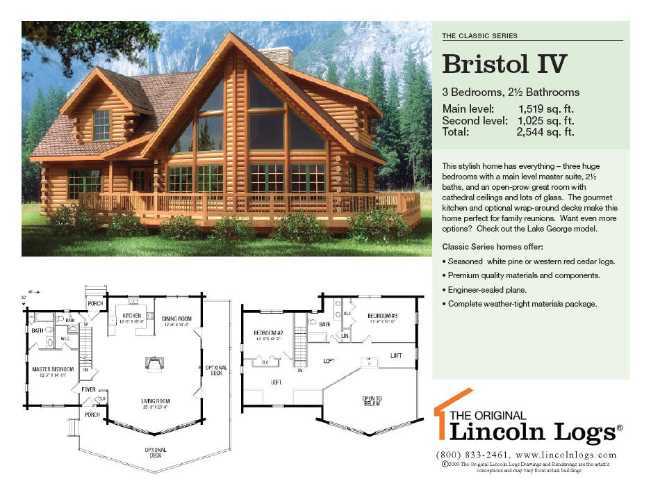 Lincoln Log Homes Floor Plans Log Home Floorplan Bristol Iv the original Lincoln Logs