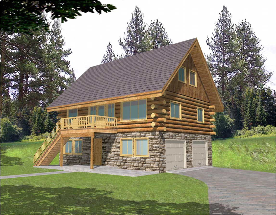 small log home designs with wooden and stone wall ideas complete with garage