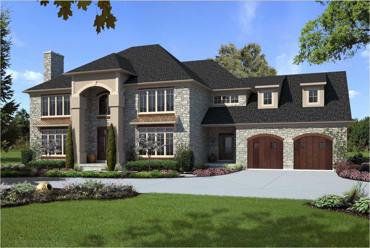 custom luxury home designs with gray and brown colors ideas with brown wooden garage doors