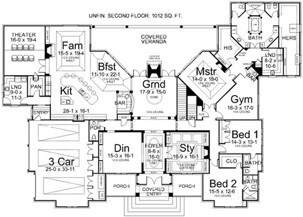 luxury style house plans 5194 square foot home 1 story 3 bedroom and 3 bath 3 garage stalls by monster house plans plan24 163