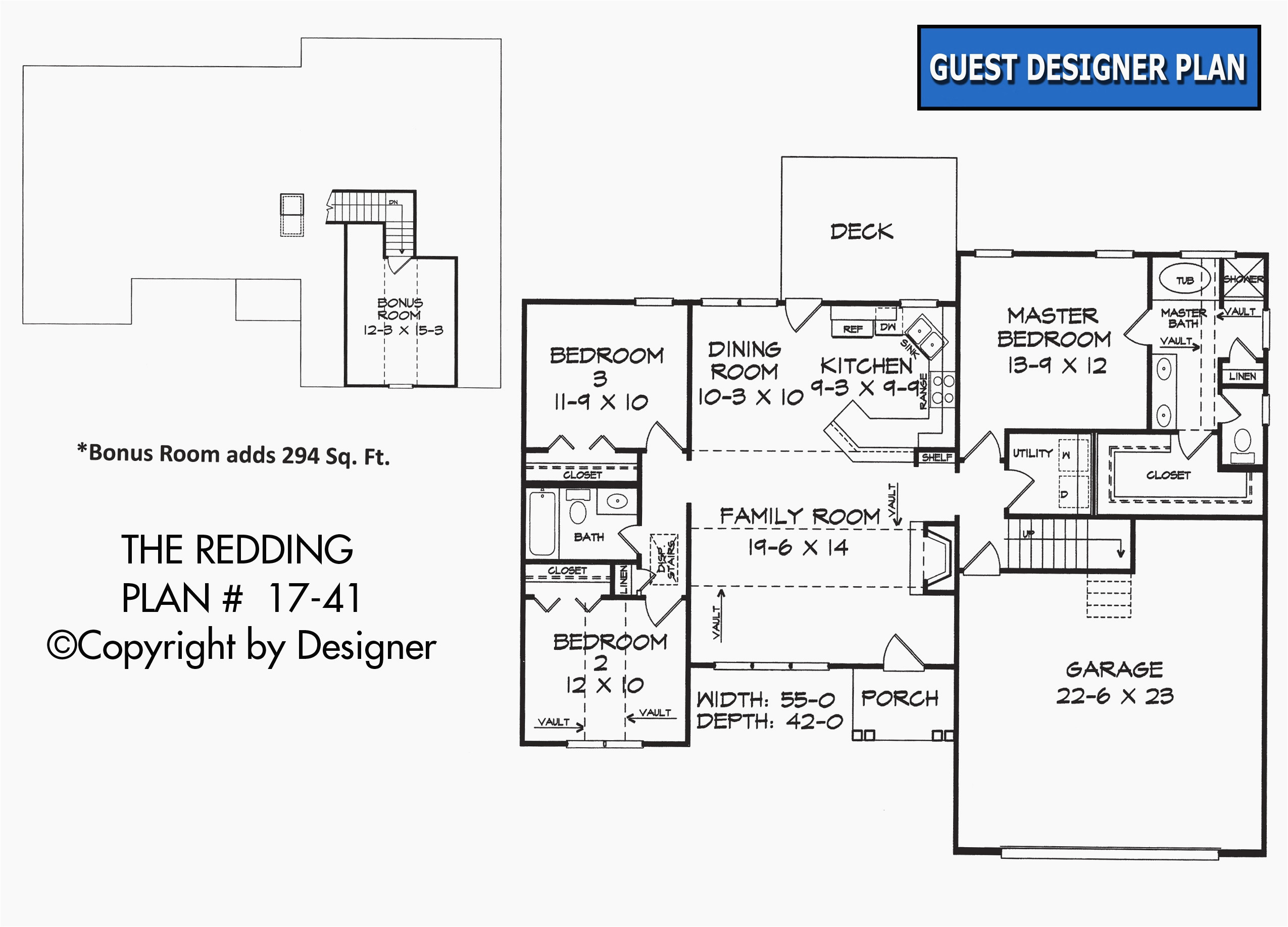 1 story house plans with bonus room