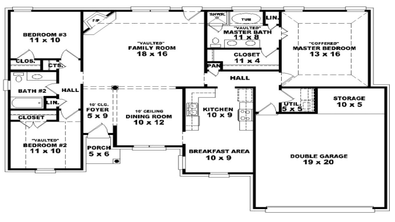 4 bedroom house plans one story bonus room