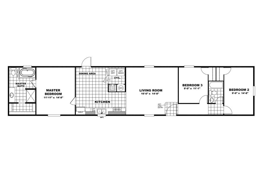 3 bedroom 2 bath 6 16 x 80 2