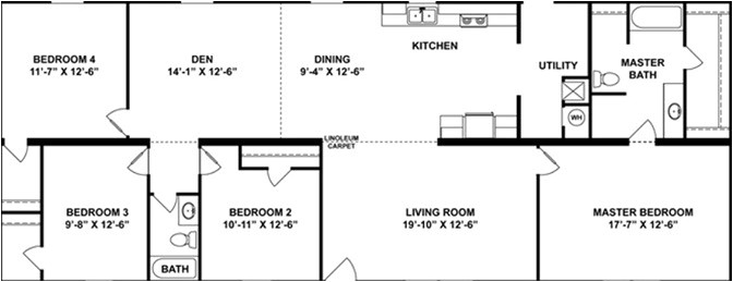 4 bedroom 2 bath 1 28x72