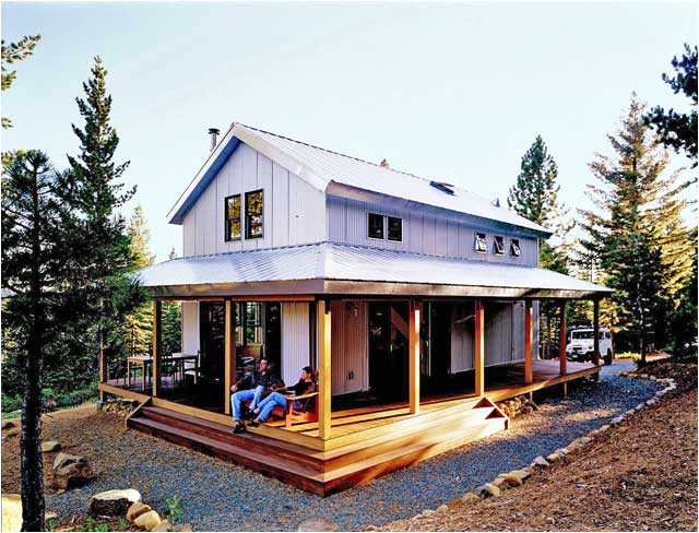 cosy metal building cabin w wrap around porch plans available