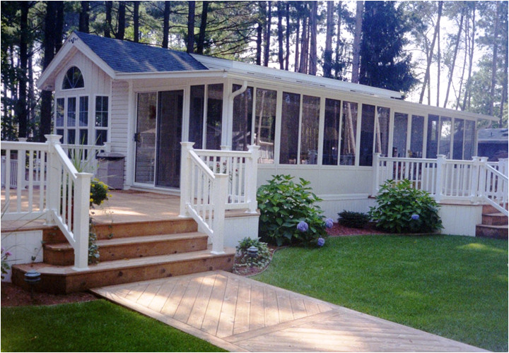 single wide mobile home with porch