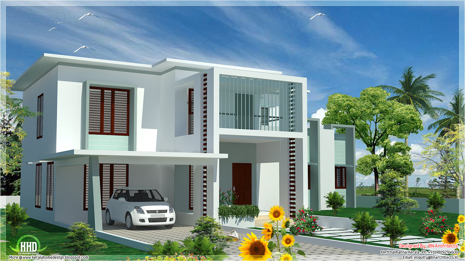 Modern Flat Roof Home Plans 4 Bedroom Modern Flat Roof House Kerala Home Design and