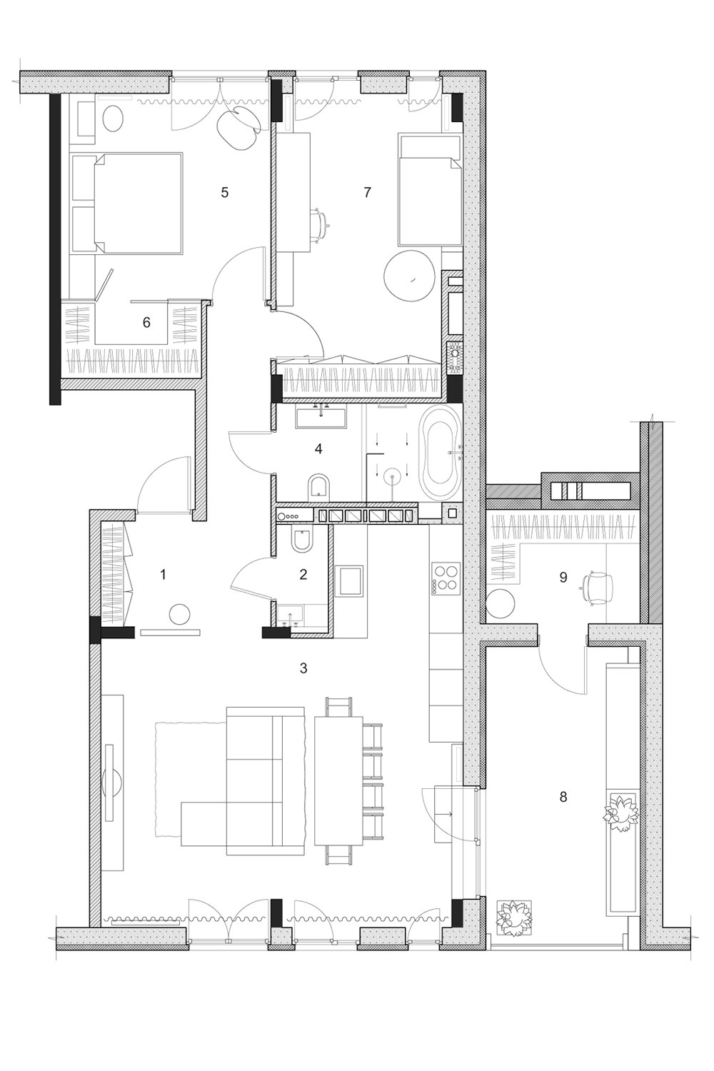 two modern homes with rooms for small children with floor plans