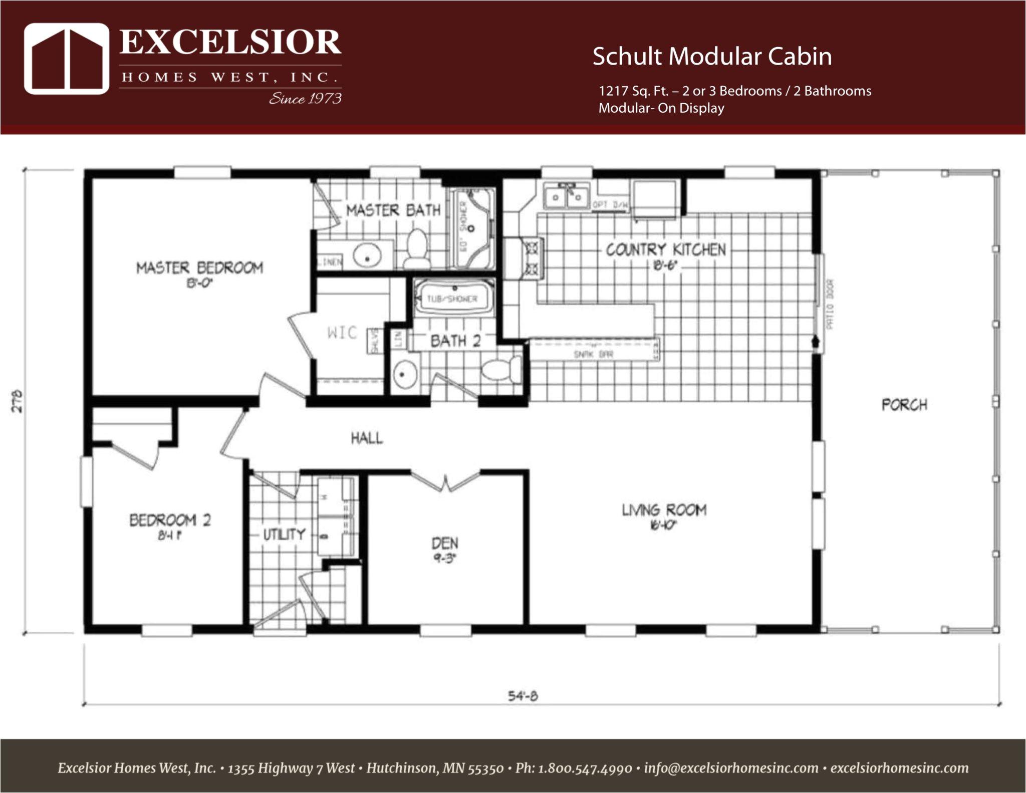 Modular Homes Floor Plan Schult Modular Cabin Excelsior Homes West Inc