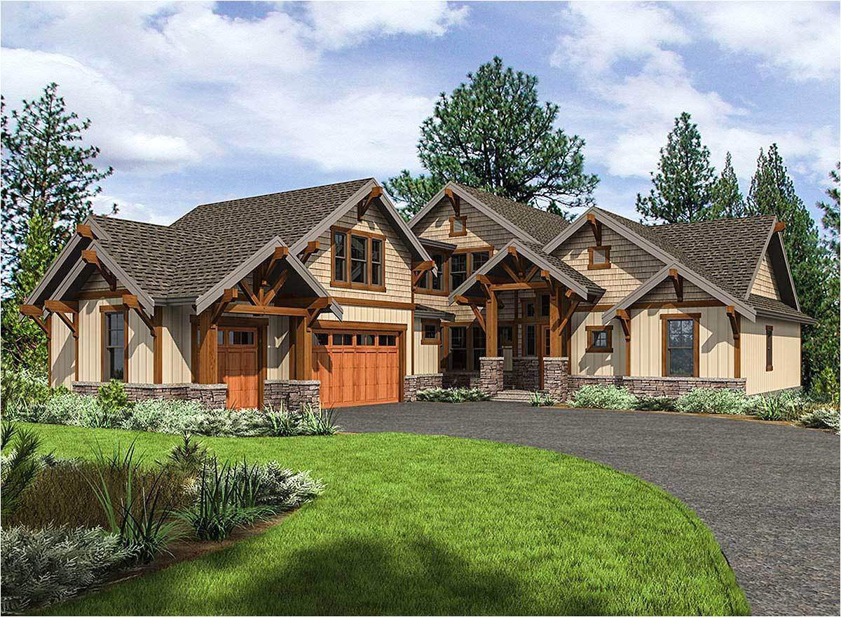 mountain craftsman house plan with 3 upstairs bedrooms 23702jd