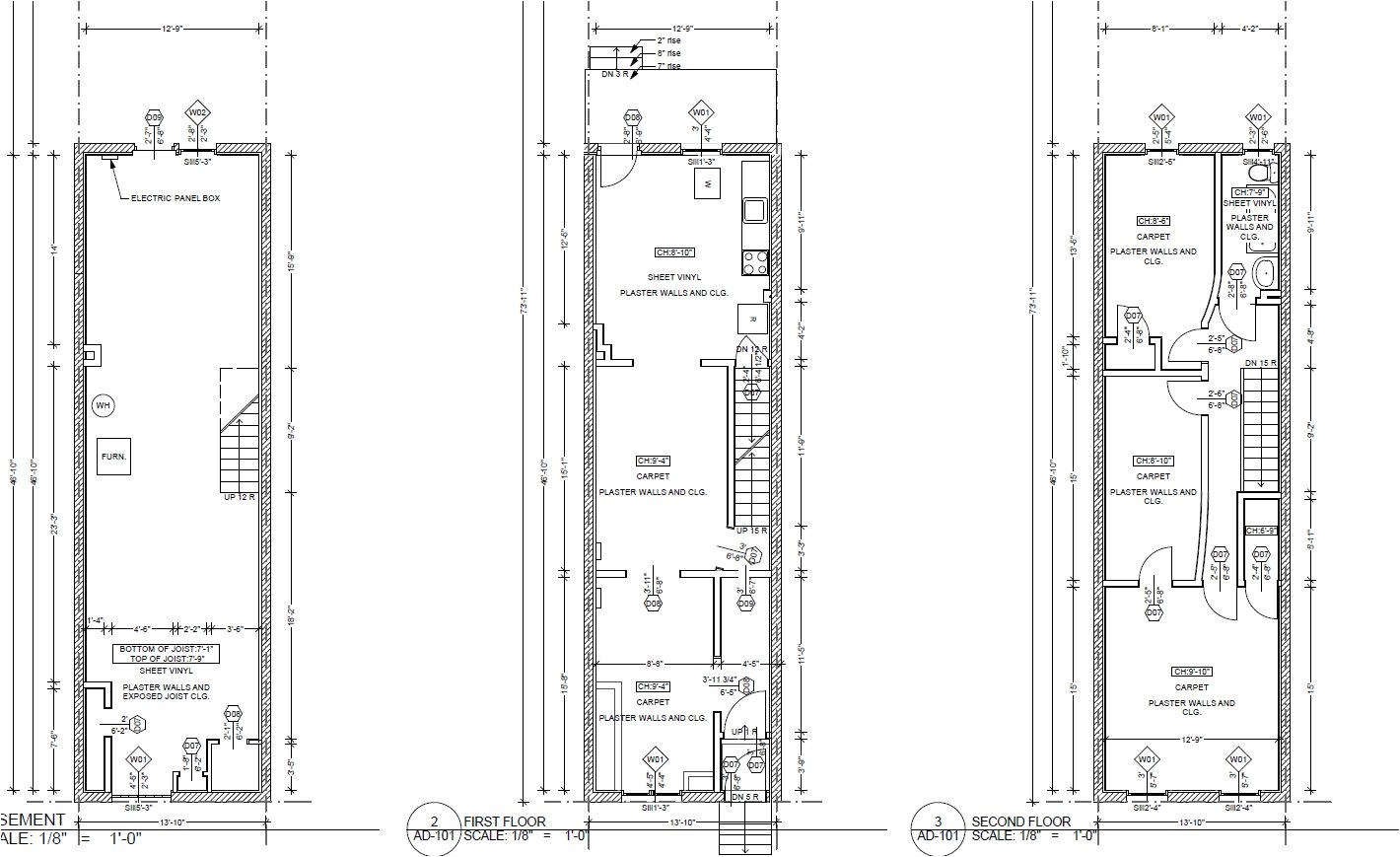 narrow row house plans
