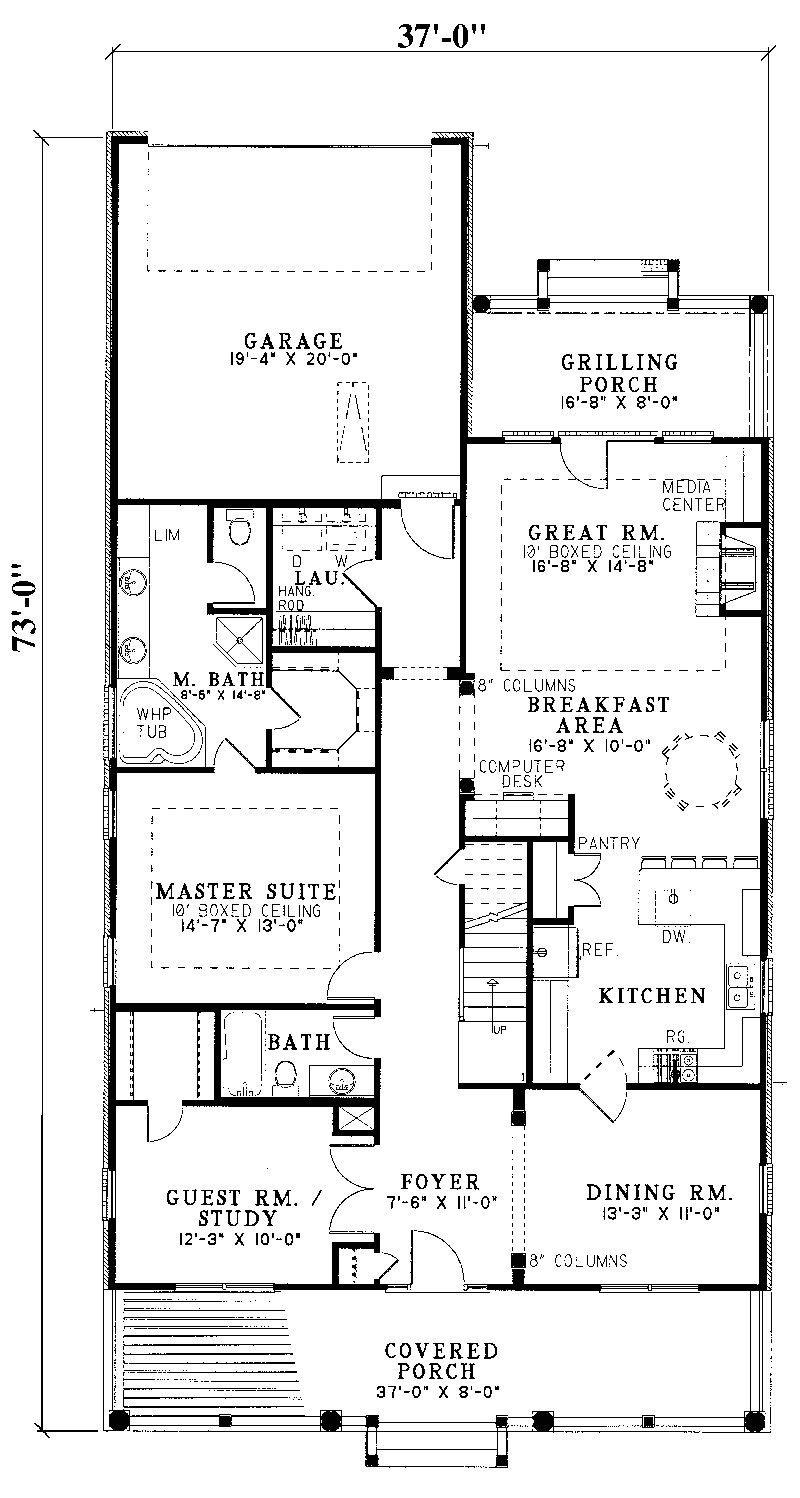house plans for narrow lots with rear garage