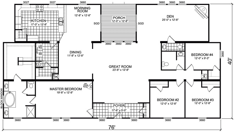 triple wide manufactured homes floor plans
