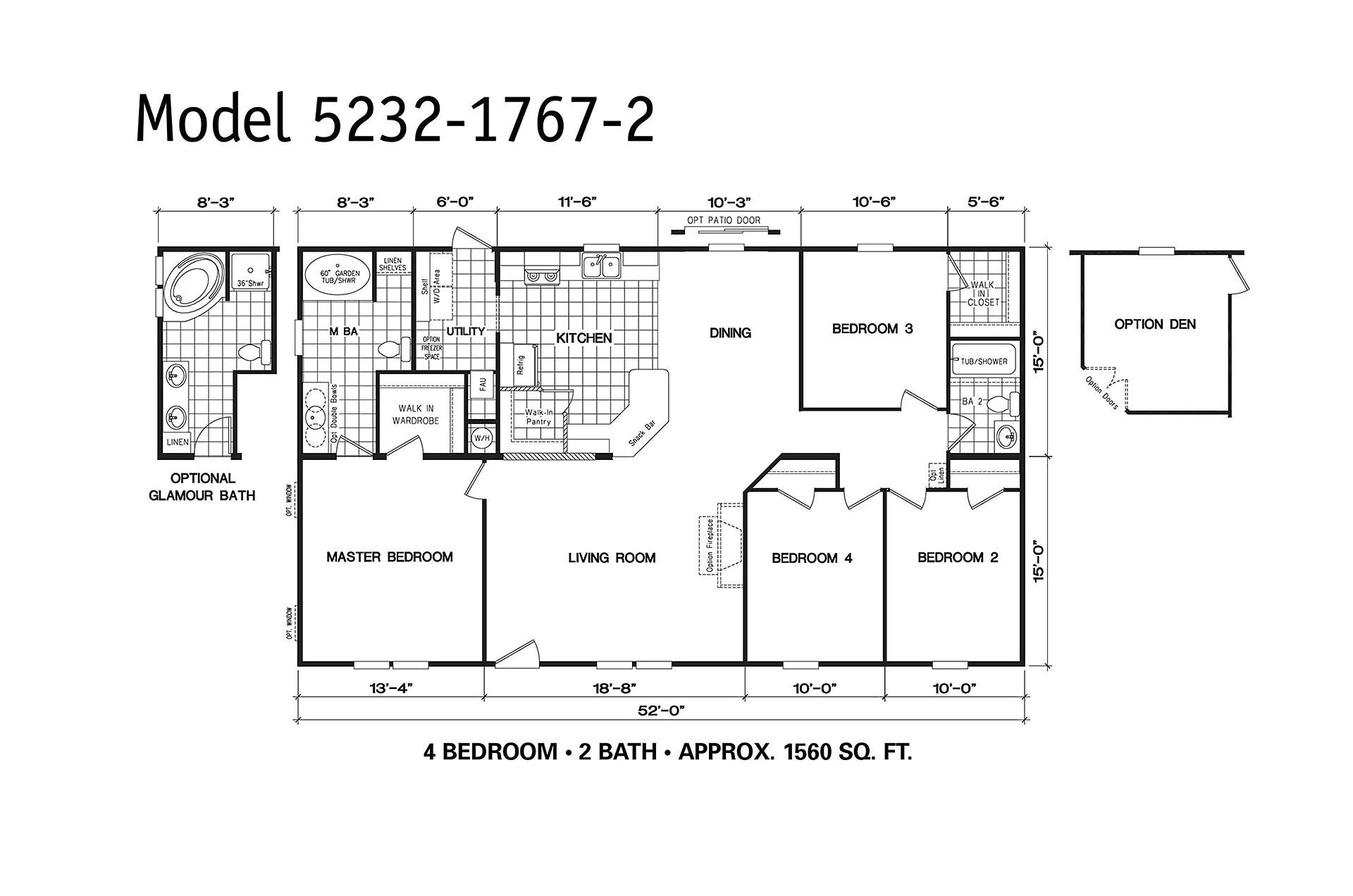 manufactured home floor plan clayton oakwood platinum 237158 2
