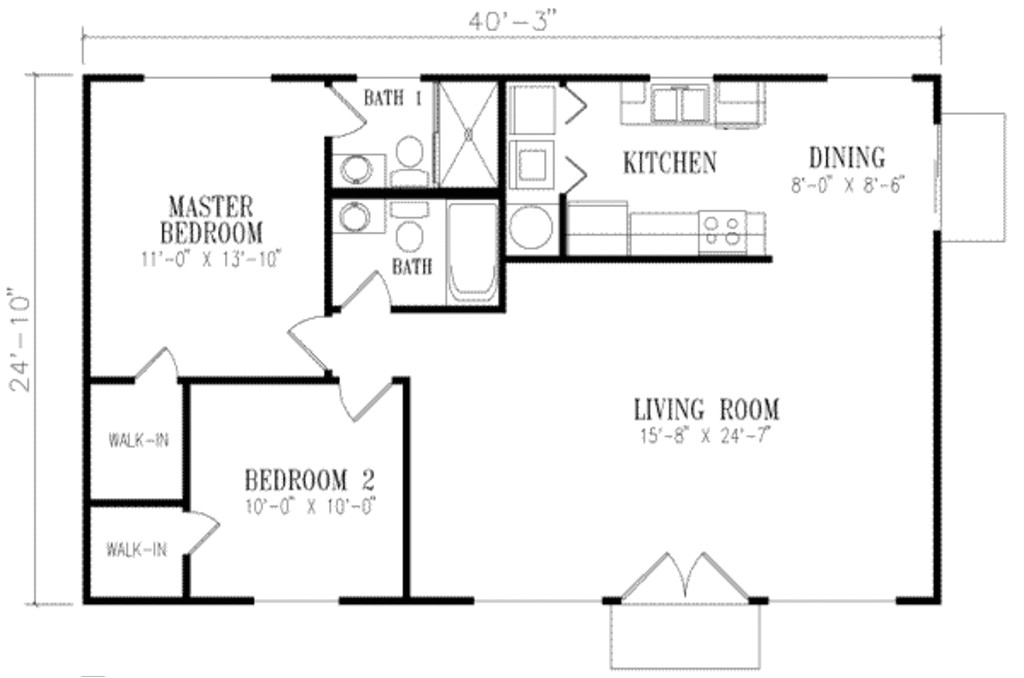 1000 square feet 2 bedrooms 2 bathroom sunbelt home plans 0 garage 14653
