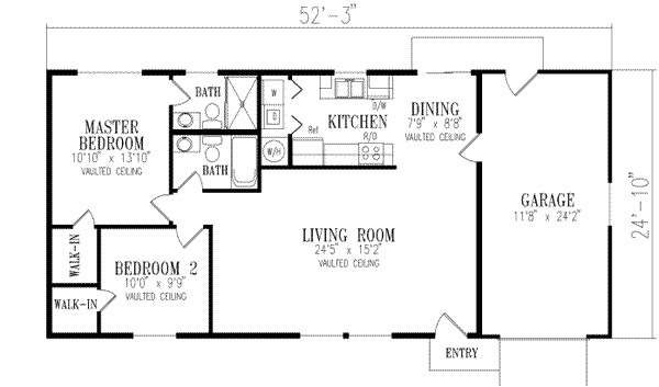 1000 sq ft home 1 story 2 bedroom 2 bath house plans plan41 143
