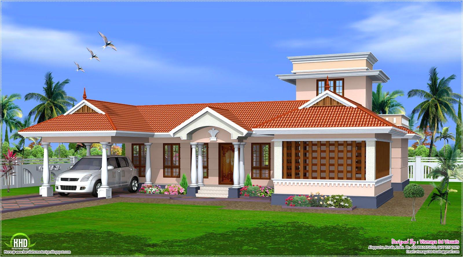 style single floor house design kerala home plans