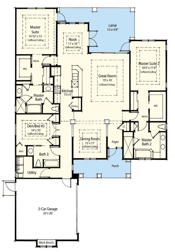 One Level House Plans with Two Master Suites Dual Master Suite Energy Saver 33094zr Architectural